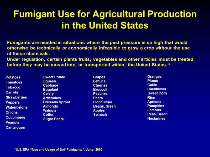 Fumigant Use for Agricultural Production in the United States